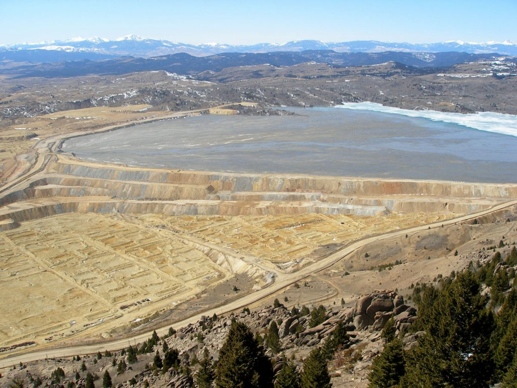 Looking west from Rampart Mountain over the Yankee Doodle Tailings Pond, located north of the Berkeley Pit, in 2007.