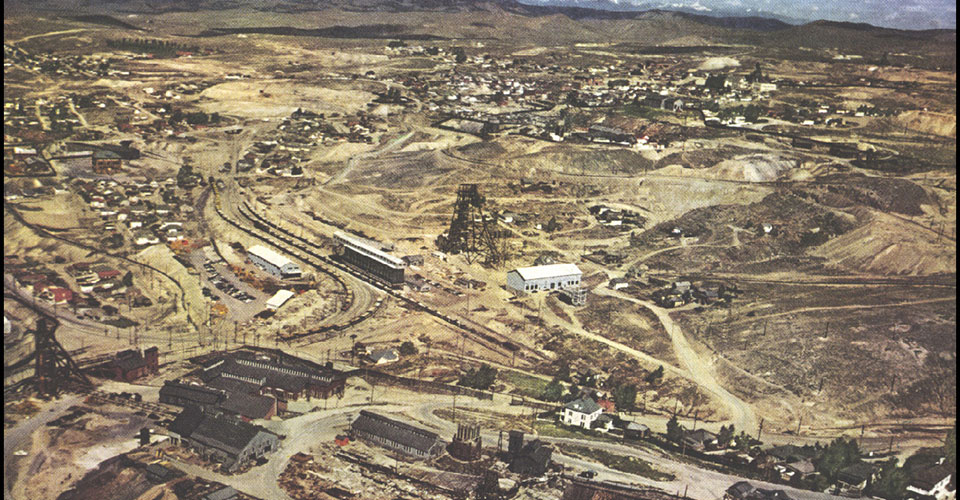 The future site of the Berkeley Pit in Butte, Montana as it appeared in 1952.