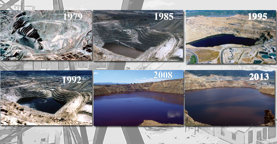 Water in the Berkeley Pit rising over time, 1979-2013. Photos from the Montana Bureau of Mines & Geology, Justin Ringsak, and Fritz Daily.