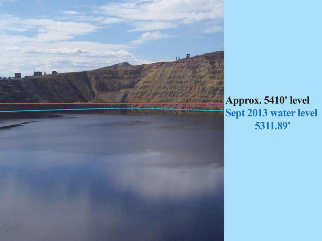 The water level in the Berkeley Pit in 2013, compared to the Critical Water Level. Current projections show that the water level in one of the monitoring compliance points around the Pit, such as the Pilot Butte or Anselmo mine shafts, will reach the critical level around 2023, triggering pumping-and-treating of Pit water to maintain its level below the critical point. Photo by Ted Duaime of the Montana Department of Mines & Geology.