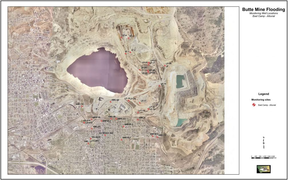 This map shows the locations of groundwater monitoring points for the alluvial aquifer in the East Camp area of the Butte Mine Flooding Operable Unit of the greater Butte Superfund site.