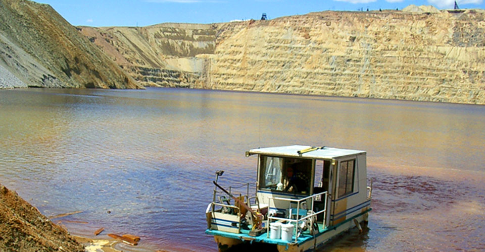 Due to safety concerns related to landslides (or sloughs) along the Pit rim, the Montana Bureau of Mines and Geology has not taken this research boat out on the Pit lake for water quality sampling since 2012.