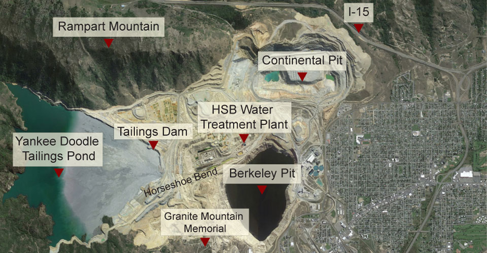 This September 2014 photo from Google Earth shows the Berkeley Pit and the surrounding area.