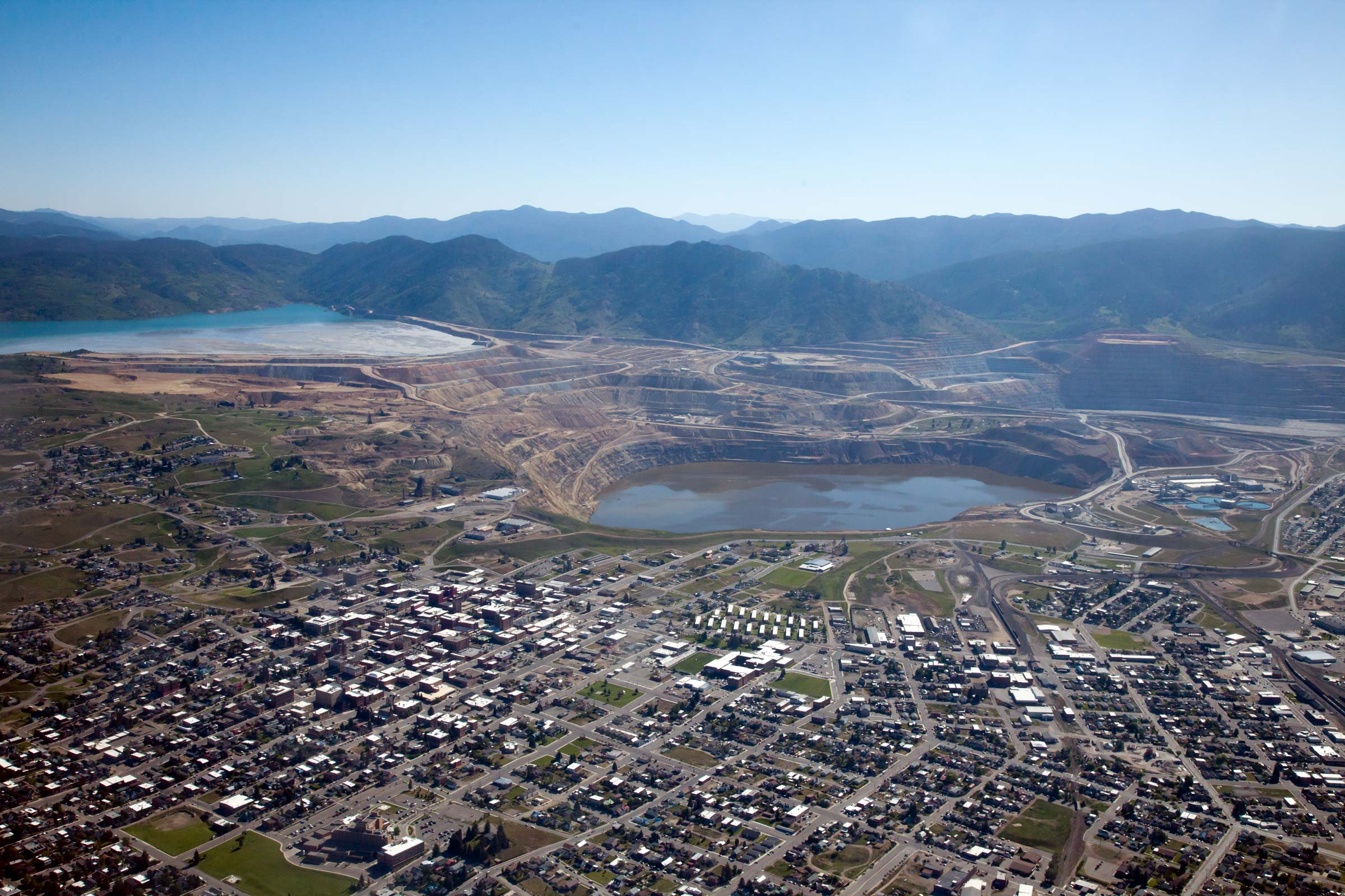 Aerial View of the Berkeley Pit 2014. Photo courtesy of the Butte-Silver Bow Public Archives.